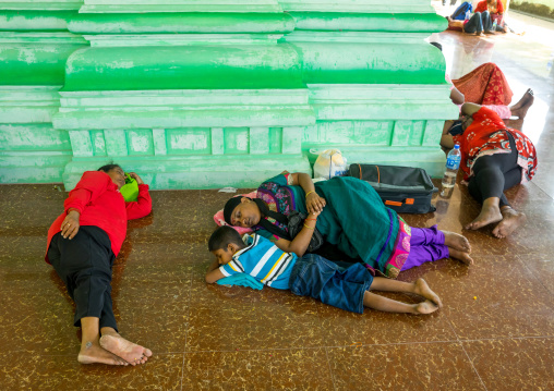 Family Sleeping In A Temple During Annual Thaipusam Religious Festival, Southeast Asia, Kuala Lumpur, Malaysia