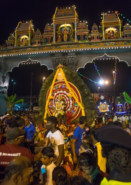 Crowd Surrounding The Thaipusam Kavadi Bearers At Batu Caves Gate At Night, Southeast Asia, Kuala Lumpur, Malaysia