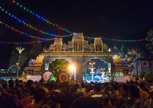 Crowd Surrounding The Thaipusam Kavadi Bearers At Batu Caves Gate At Night, Southeast Asia, Kuala Lumpur, Malaysia