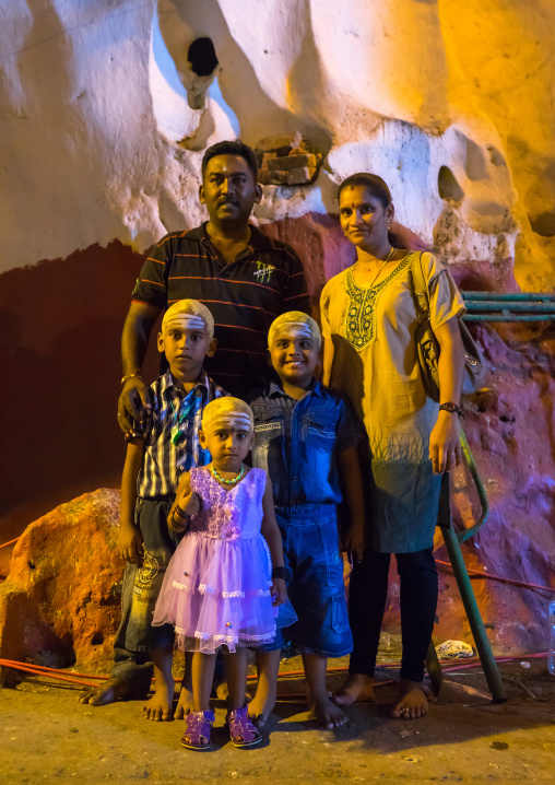 Portrait Of Parents With Their Children Who Have Heads Shaved In Batu Caves In Annual Thaipusam Religious Festival, Southeast Asia, Kuala Lumpur, Malaysia