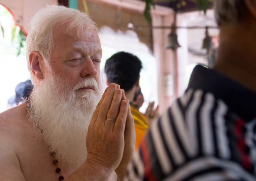 Carl, An Australian Hindu Devotee Praying In Annual Thaipusam Religious Festival In Batu Caves, Southeast Asia, Kuala Lumpur, Malaysia