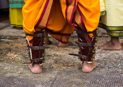 Hindu Devotee Feet With Bondage In Annual Thaipusam Religious Festival In Batu Caves, Southeast Asia, Kuala Lumpur, Malaysia
