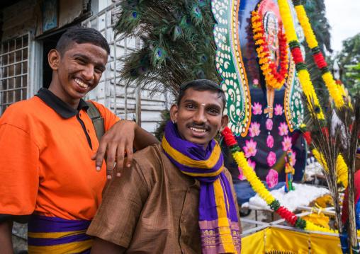 Smiling Hindu Devotees In Annual Thaipusam Religious Festival In Batu Caves, Southeast Asia, Kuala Lumpur, Malaysia