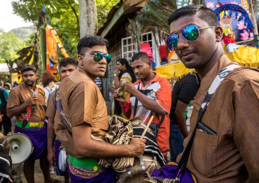 Musicians In Batu Caves In Annual Thaipusam Religious Festival, Southeast Asia, Kuala Lumpur, Malaysia
