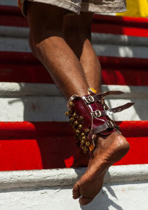Hindu Devotee Climbing Stairs In Annual Thaipusam Religious Festival In Batu Caves, Southeast Asia, Kuala Lumpur, Malaysia
