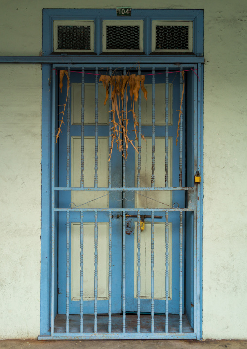 Old Colonial House Blue Closed Door, Perak State, Ipoh, Malaysia