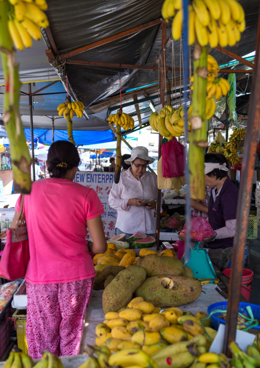 Jackfruits And Bananas For Sale In Central Market, Penang Island, George Town, Malaysia