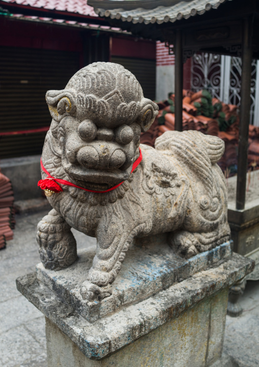 Guardian Lion At The Temple Of The Goddess Of Mercy, Penang Island, George Town, Malaysia