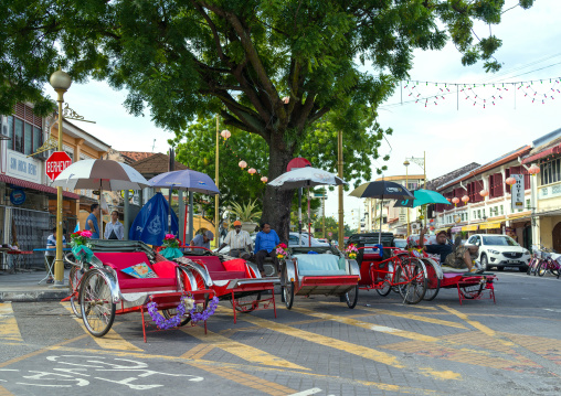 Rickshaws Waiting For Tourists In Chinatown, Penang Island, George Town, Malaysia