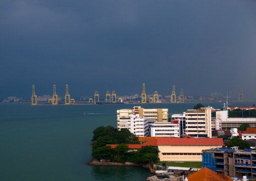 Elevated View Of The Cityscape And The Port, Penang Island, George Town, Malaysia