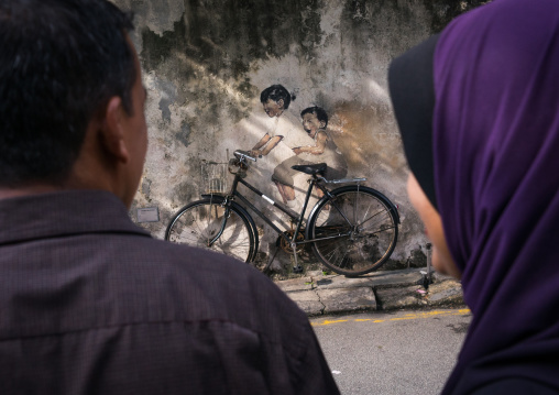 Children On Bike Street Arwotk By Lithuanian Artist Ernest Zacharevic, Penang Island, George Town, Malaysia