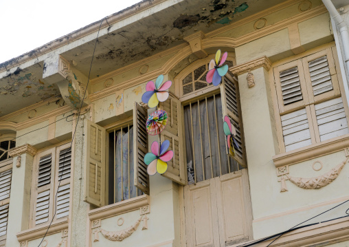 Old Colonial House Windows In The Unesco World Heritage Zone, Penang Island, George Town, Malaysia