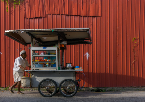 Street Food Seller Pushing A Cart, Penang Island, George Town, Malaysia