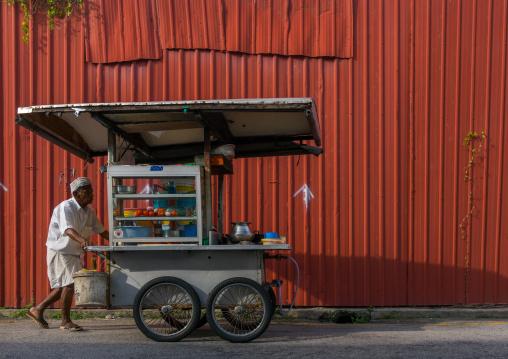 Street Food Seller Pushing A Cart, Penang Island, George Town, Malaysia