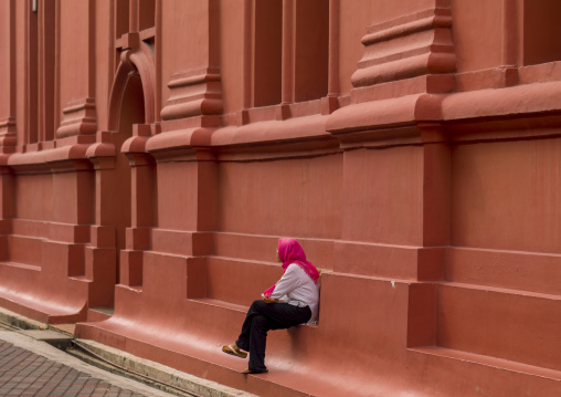 Woman In Front Of Christ Church, Malacca, Malaysia