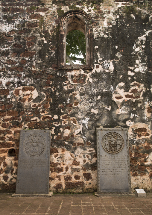 Gravestones In The Ruins Of St Paul Church, Malacca, Malaysia