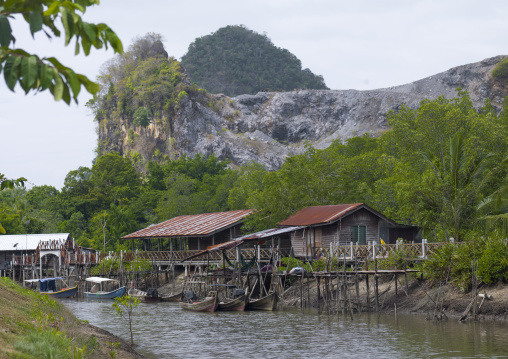 Wodden Houses On A River, Langkawi, Malaysia