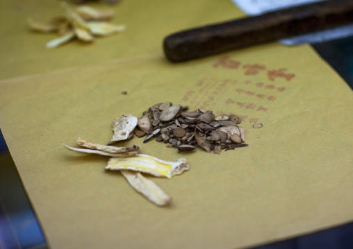 Doctor Taking Herb Used For Traditional Chinese Medicine, George Town, Penang, Malaysia