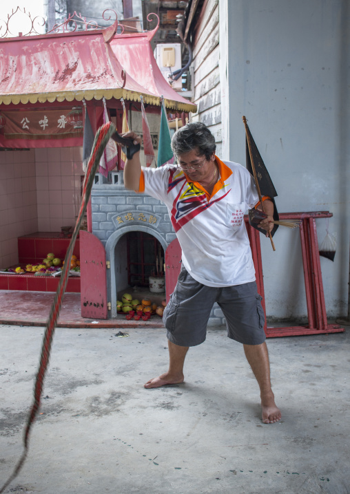 Malaysian Shaman With A Whip, George Town, Penang, Malaysia