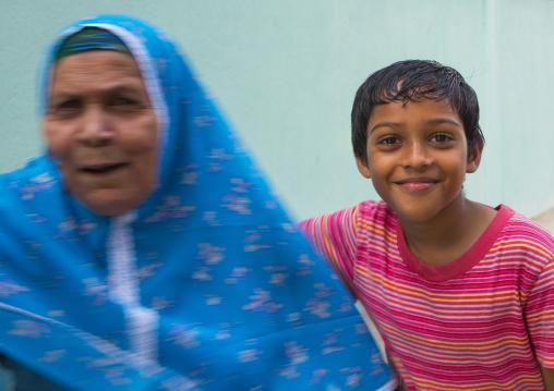 Kid And His Grand Mother, Eydhafushi, Baa Atoll, Maldives