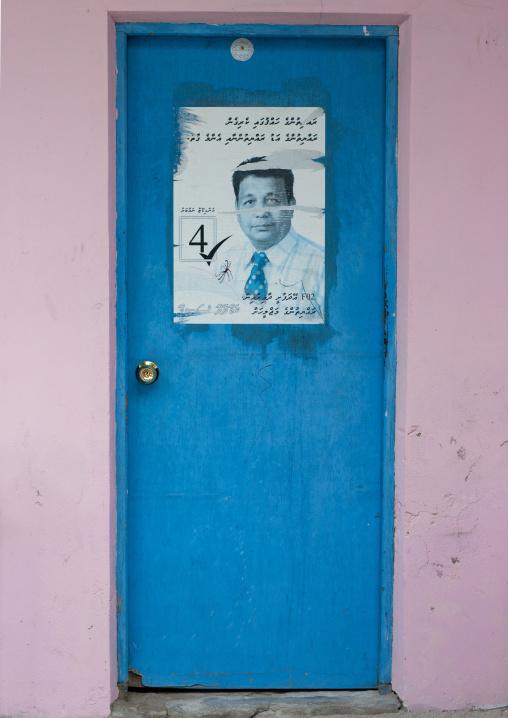 Election Propaganda Poster On A House Door, Eydhafushi, Baa Atoll, Maldives