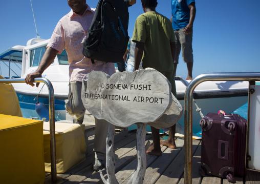 Tourists Arriving At Soneva Fushi Hotel Airport, Baa Atoll, Maldives