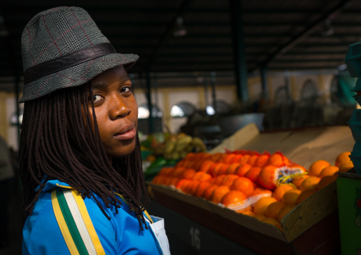 Woman With A Hat In Mercado Central, Maputo, Maputo City, Mozambique