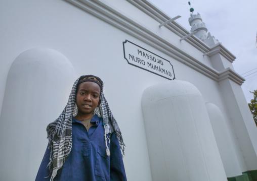 Boy In Front Of The Mosque Massdjid Nuro Muhamad, Inhambane, Inhambane Province, Mozambique