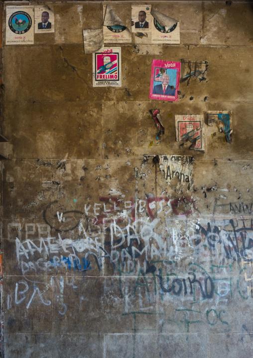 Propaganda Posters Inside The Grande Hotel Slum, Beira, Mozambique