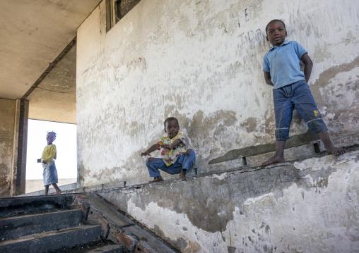 Kids Inside The Grande Hotel Slum, Beira, Mozambique