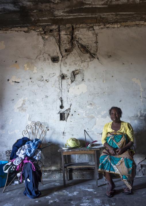 Woman Inside The Grande Hotel Slum, Beira, Mozambique
