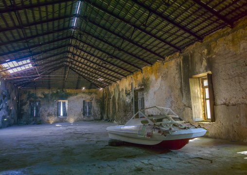 Boat Inside An Old Portuguese Colonial Building, Island Of Mozambique, Mozambique