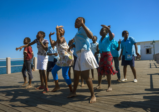 Girls Dancing On A Deck, Island Of Mozambique, Mozambique