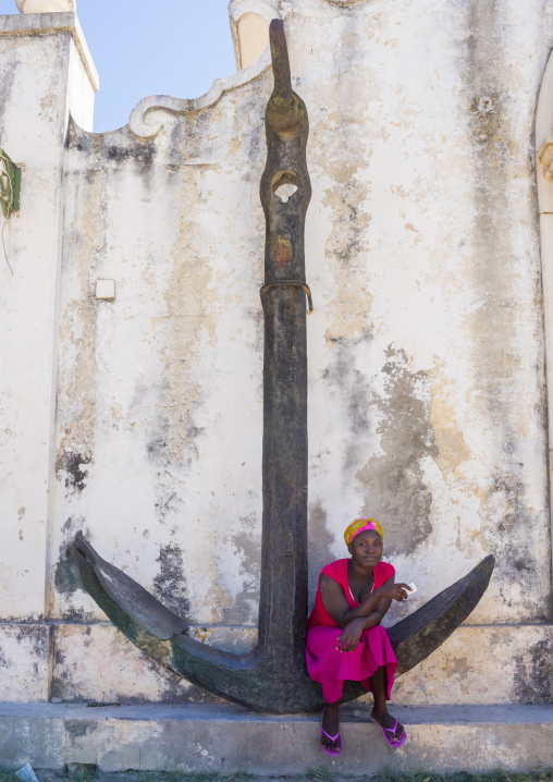 Giant Anchor At The Old Naval Academy In Stone Town, Island Of Mozambique, Mozambique