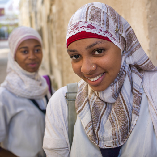 Smiling Young Muslim Women, Island Of Mozambique, Mozambique