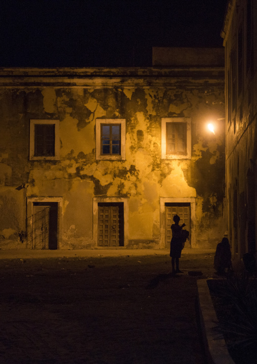 Old Portuguese Colonial Buildings At Night, Island Of Mozambique, Mozambique
