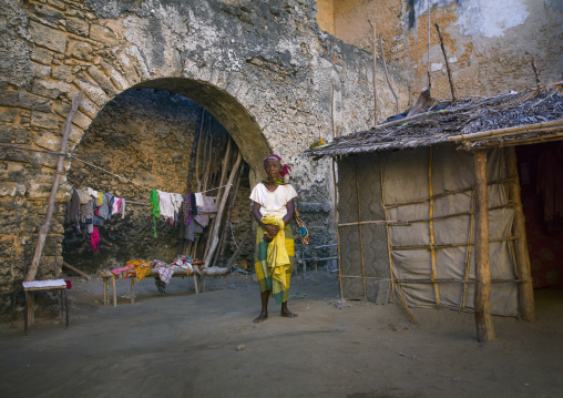 People Living Inside An Old Portuguese Colonial Building, Island Of Mozambique, Mozambique