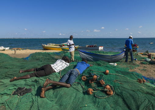 Fishermen On The Beach, Ilha de Mocambique, Nampula Province, Mozambique