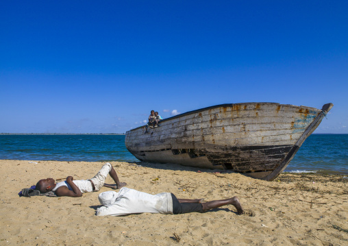 Men Sleeping On The Beach, Island Of Mozambique, Mozambique
