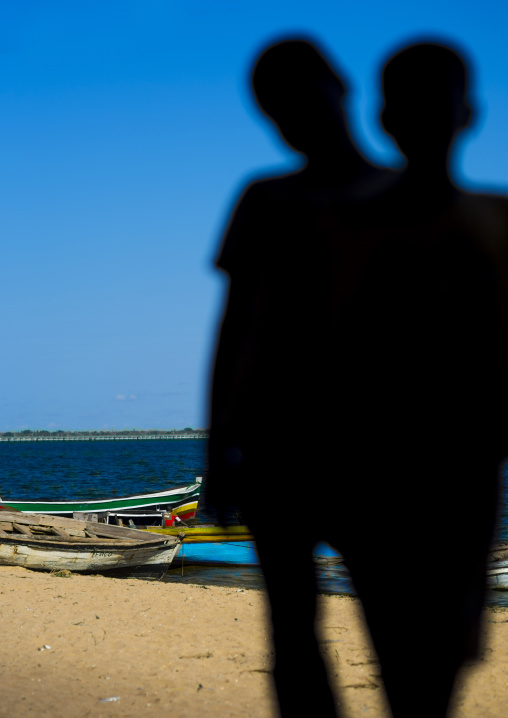Kids Silhouettes On The Beach, Island Of Mozambique, Mozambique