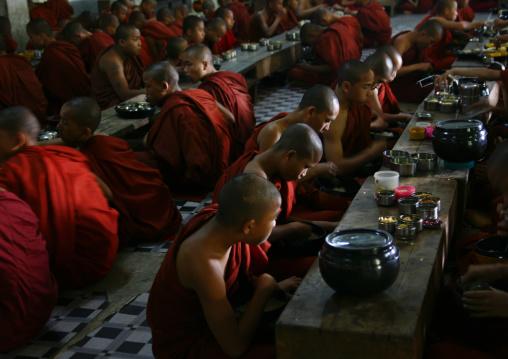 Novice Buddhist Monks Lunch, Rangoon, Myanmar