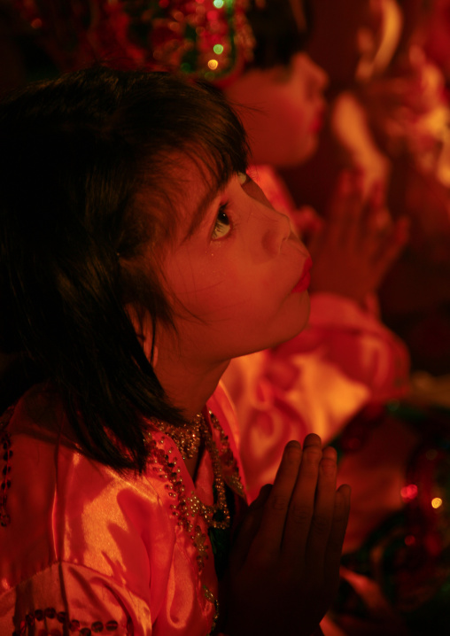 Young Girls During A Ceremony In Mandalay, Myanmar