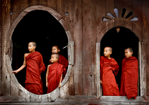 Novices buddhist monks in shwe yan pyay monastery, Myanmar