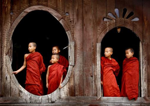 Novices Buddhist Monks In Shwe Yan Pyay Monastery, Myanmar
