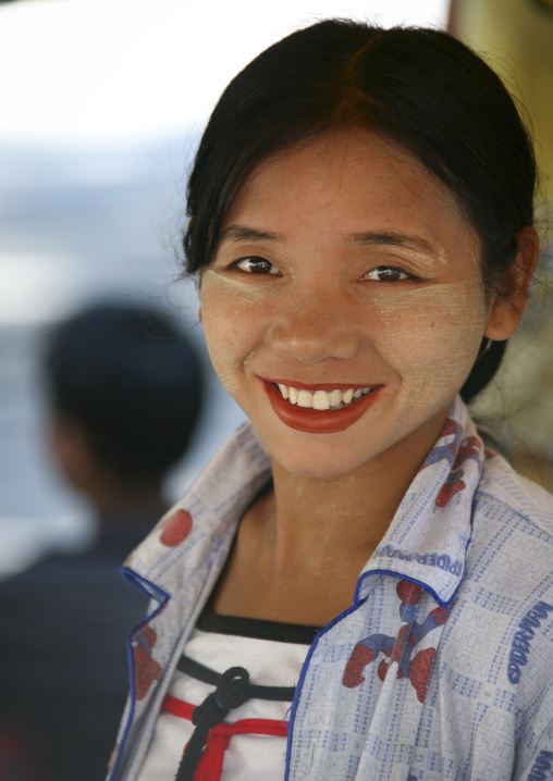 Woman Smiling With Thanaka, Rangoon, Myanmar