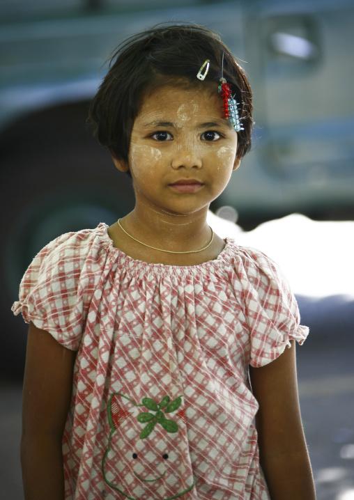 Girl With Thanaka On Cheeks, Rangoon, Myanmar