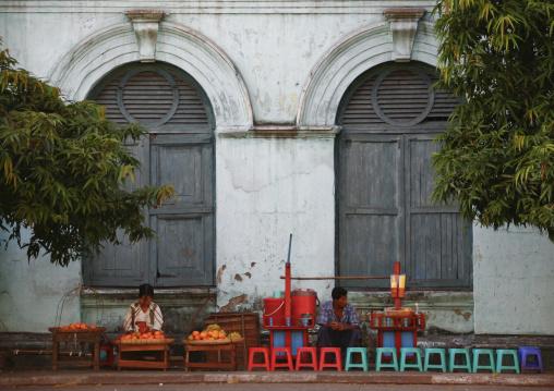 Fruits street sellers in old colonial dictrict, Rangoon, Myanmar