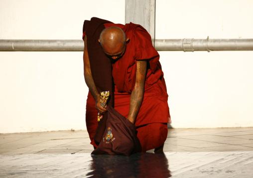 Tattooed Buddhist Monk In Shwedagon Pagoda, Rangoon, Myanmar