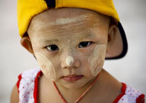 Little Girl With Thanaka On Cheeks, Rangoon, Myanmar