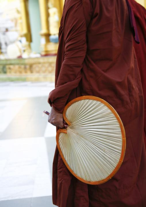 Buddhist Monk With A Fan, Shwedagon Pagoda, Rangoon, Myanmar
